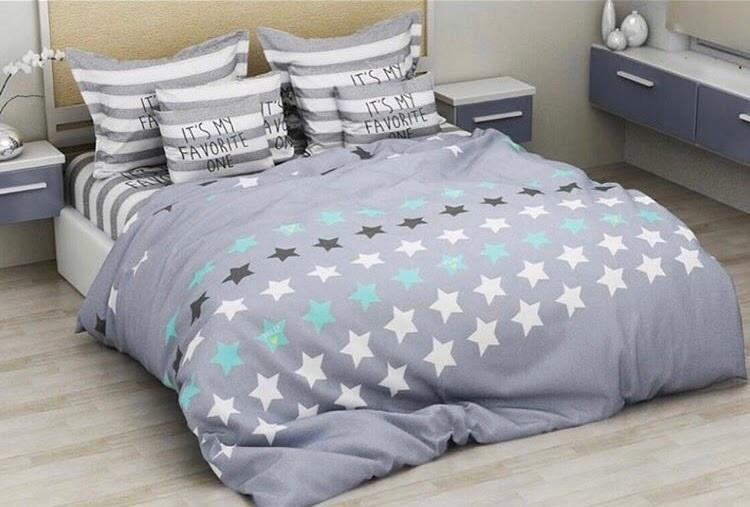 Красивое постельное белье евро, звезда полоска
