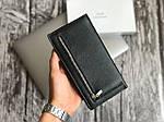 Мужской черный бумажник из натуральной кожи (портмоне), фото 3