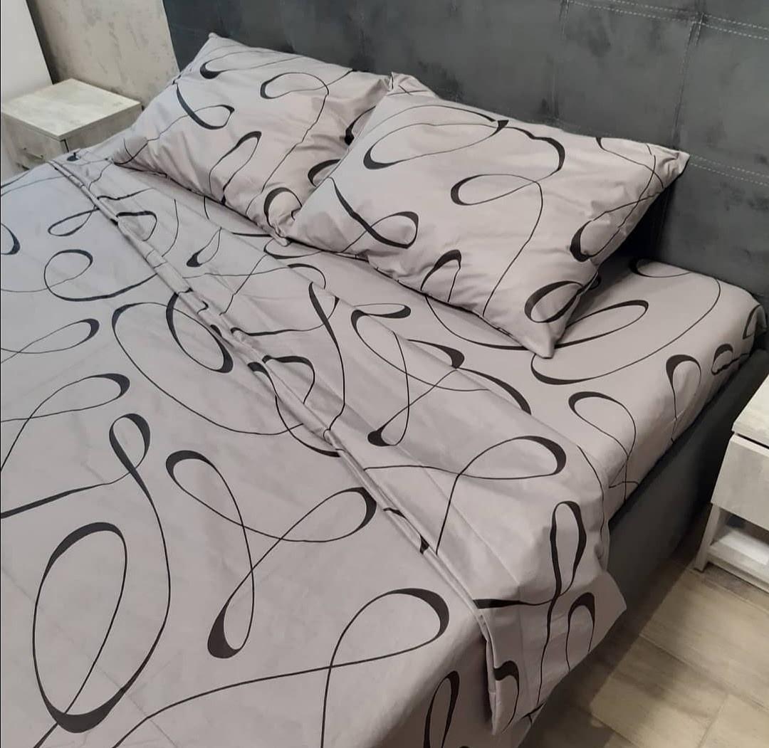Двухспальный комплект постельного белья серый