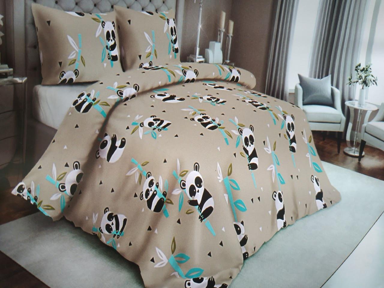 Красивое детское постельное белье полуторка, панда серая