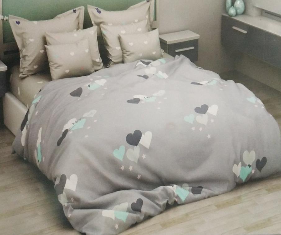 Красивое постельное белье семейка, серое с сердечками