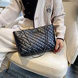 Женская большая классическая сумка шопер на цепочке черная, фото 2