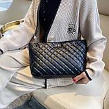 Женская большая классическая сумка шопер на цепочке черная, фото 7