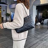 Женская большая классическая сумка шопер на цепочке черная, фото 3