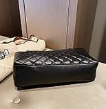 Женская большая классическая сумка шопер на цепочке черная, фото 4