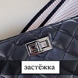 Женская большая классическая сумка шопер на цепочке черная, фото 6