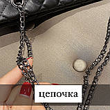 Женская большая классическая сумка шопер на цепочке черная, фото 8