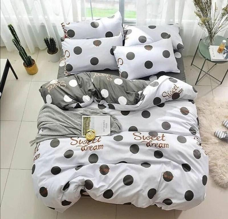 Стильное постельное белье двухспалка, серо-белый горох