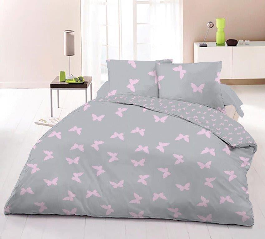 Красивое и нежное постельное белье евро, розовые бабочки