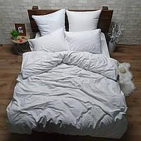 Белое двуспальное постельное белье из страйп-сатина