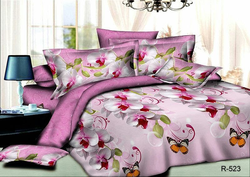 Красивое и стильное постельное белье семейка, цветы и бабочки