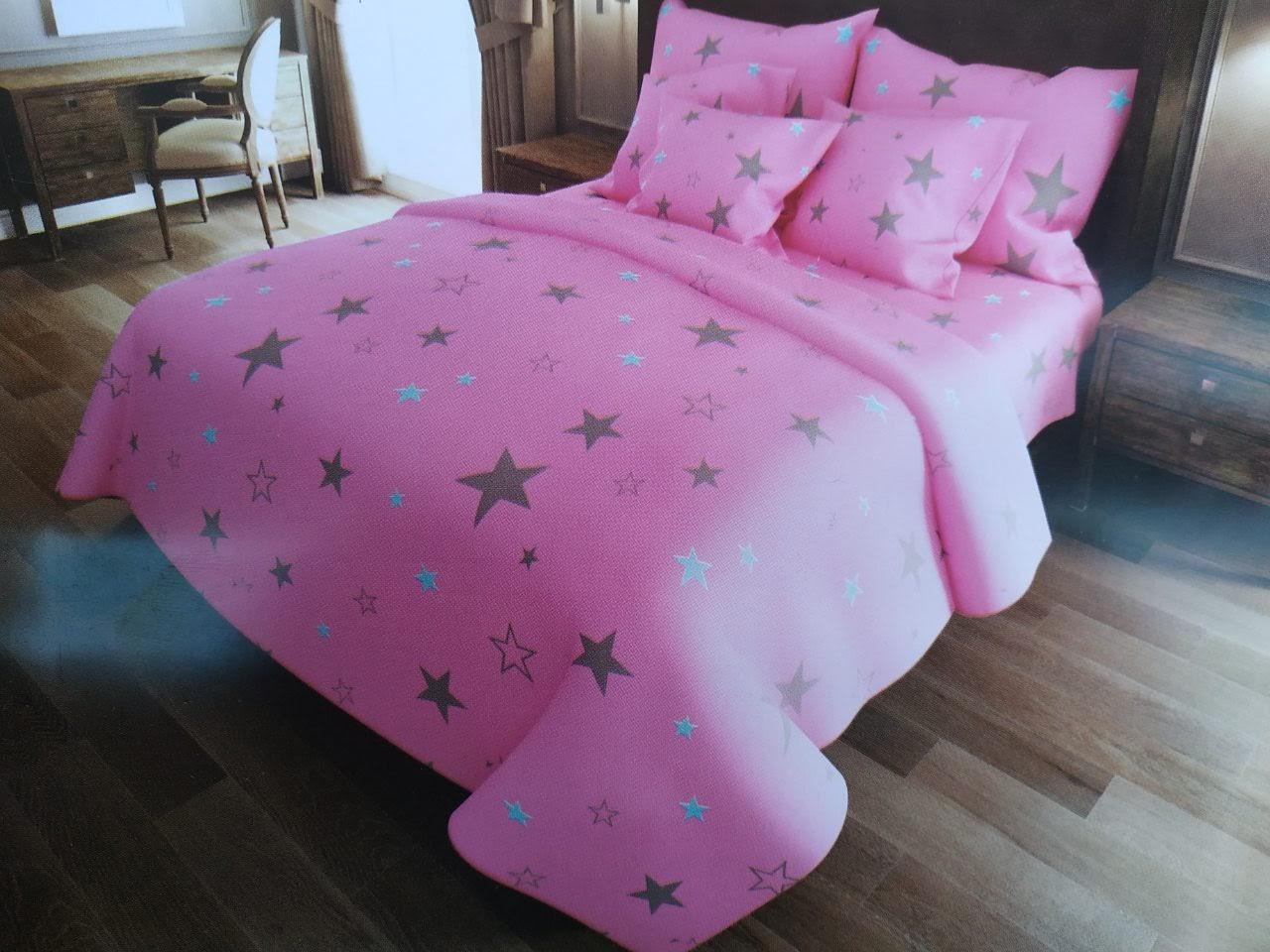 Красивое качественное постельное белье евро размер, розовые звезды
