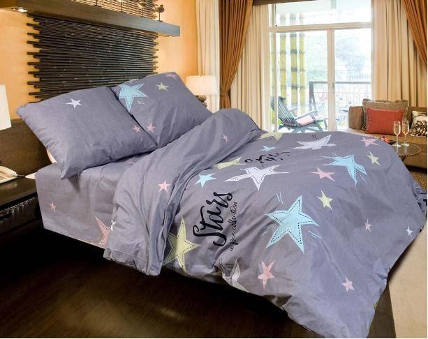 Комплект красивого постельного белья полуторка, звезды на сером
