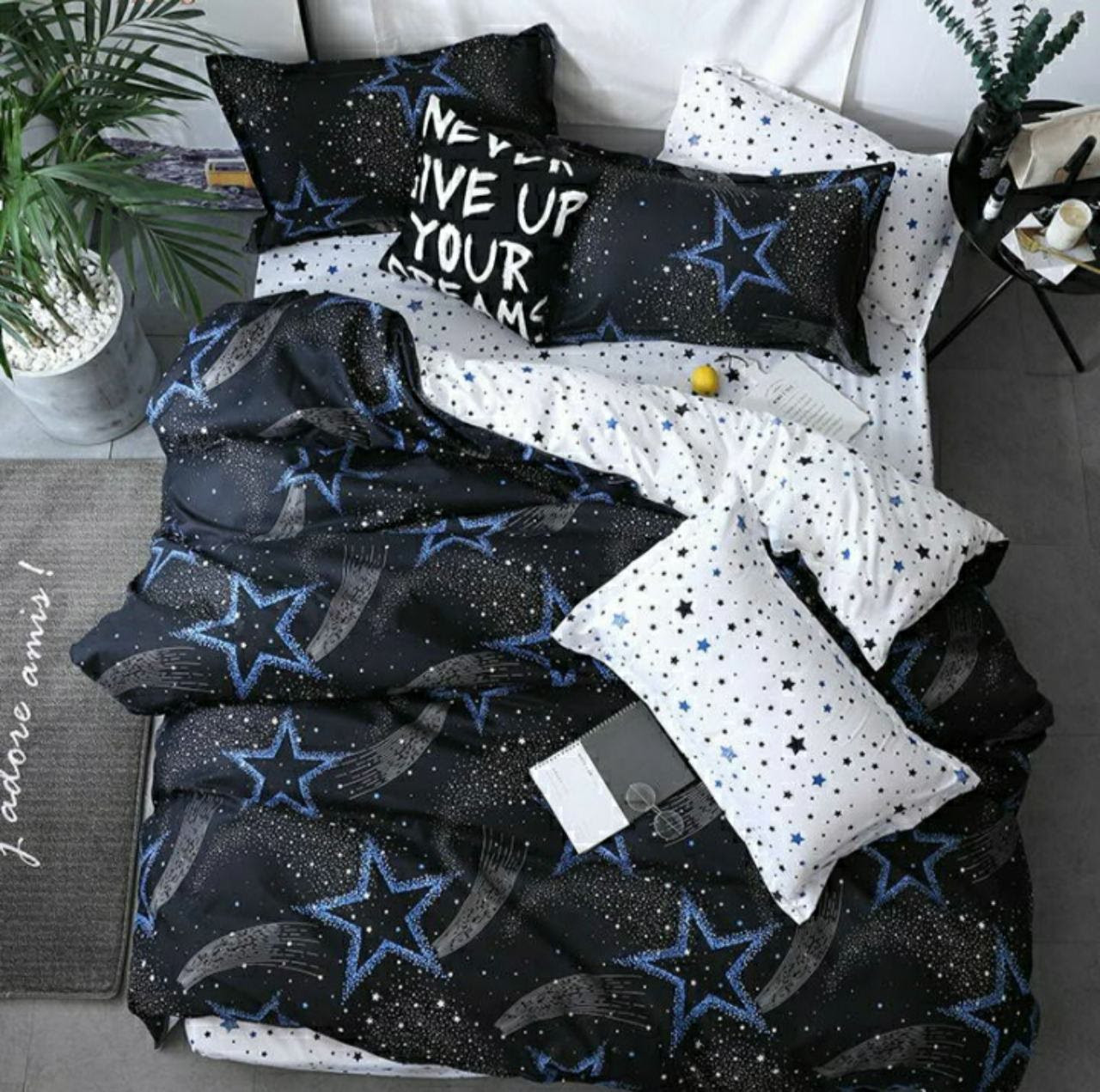 Комплект красивого постельного белья, двухспалка, стар трек