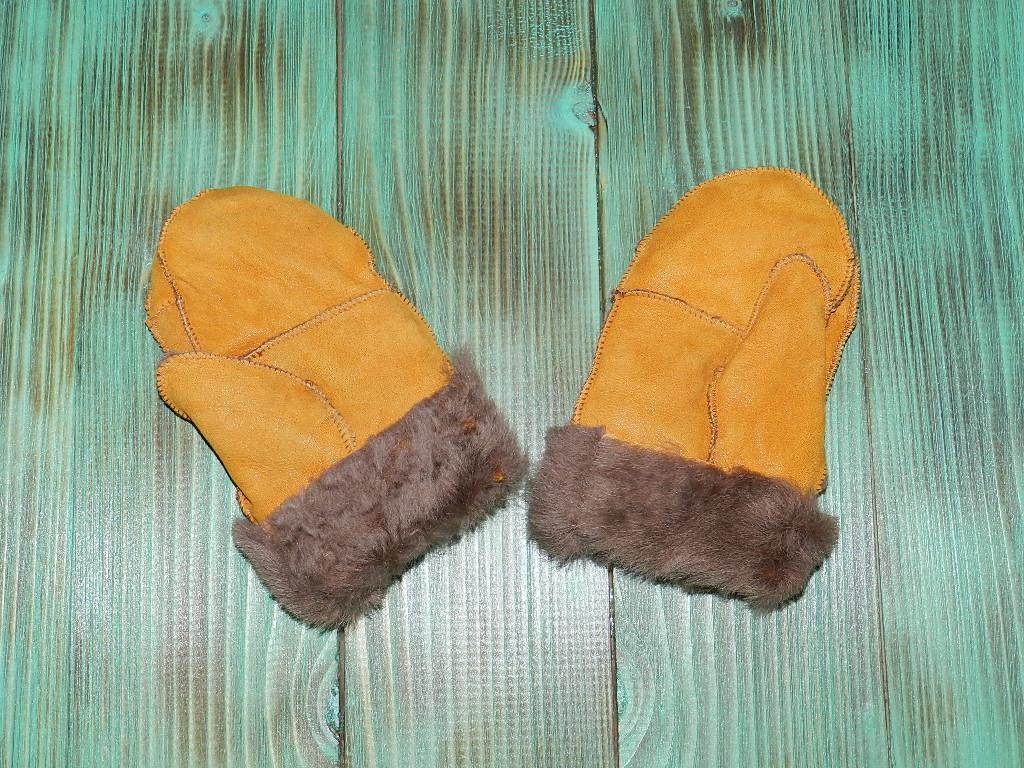 Варежки кожаные с мехом 7-8 лет