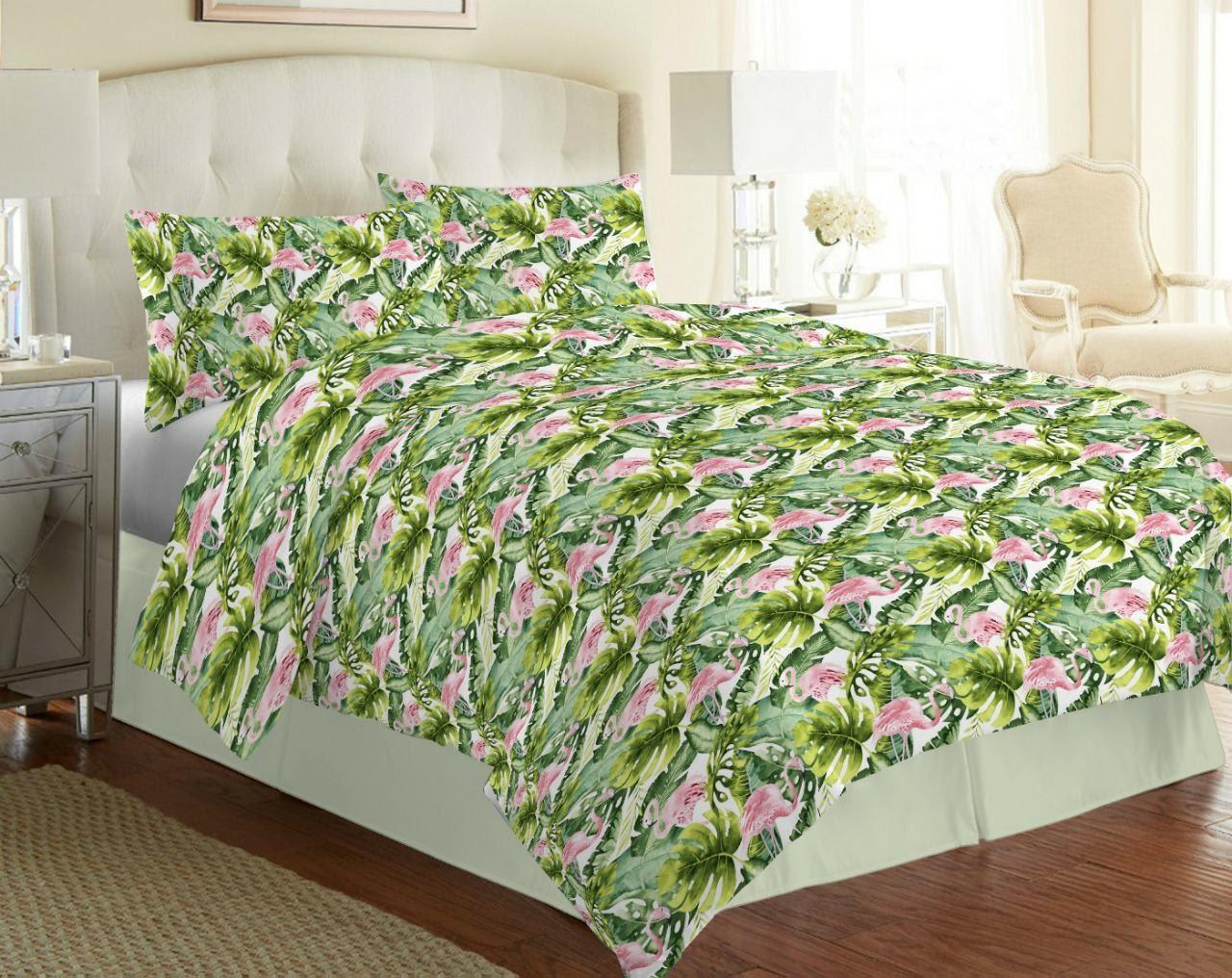 Стильный комплект постельного белья, полуторка, фламинго тропик