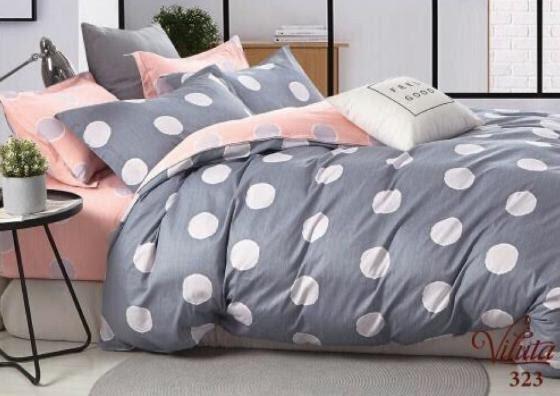 Красивое и качественное постельное белье, євро, шары серо-розовые