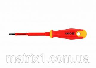 Отвертка Insulated диэлектрическая плоская SL4, 100мм VDE ДО 1000 В YATO Professional