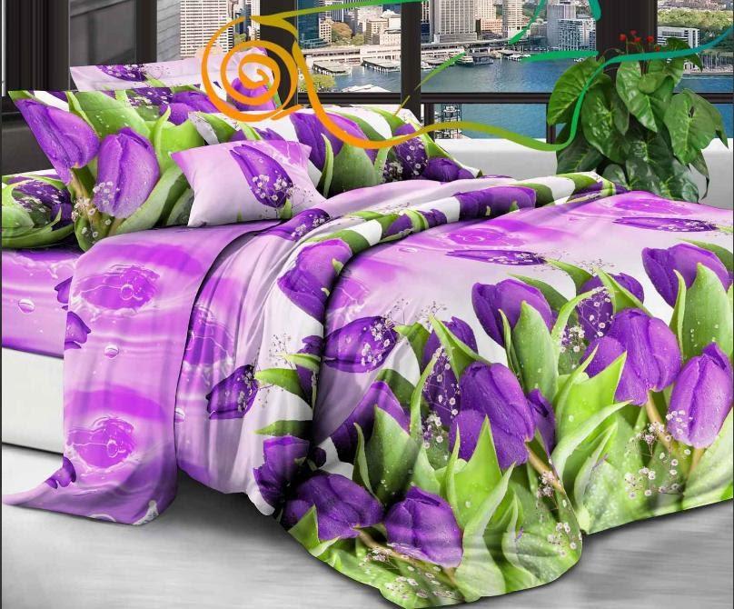 Комплект красивого цветочного качественного постельного белья, размер євро, тюльпаны