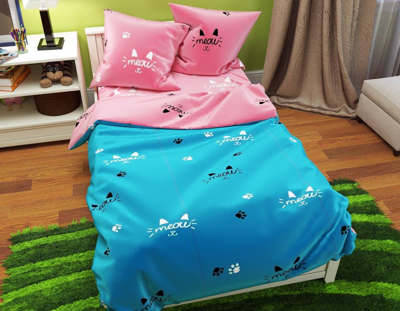 Комплект качественного постельного белья, размер євро, мяу мяу