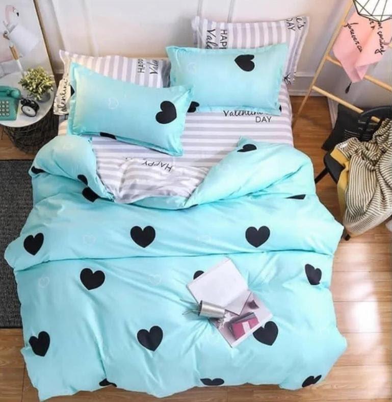 Стильное постельное белье отличного качества, двухспалка, сердце бирюза