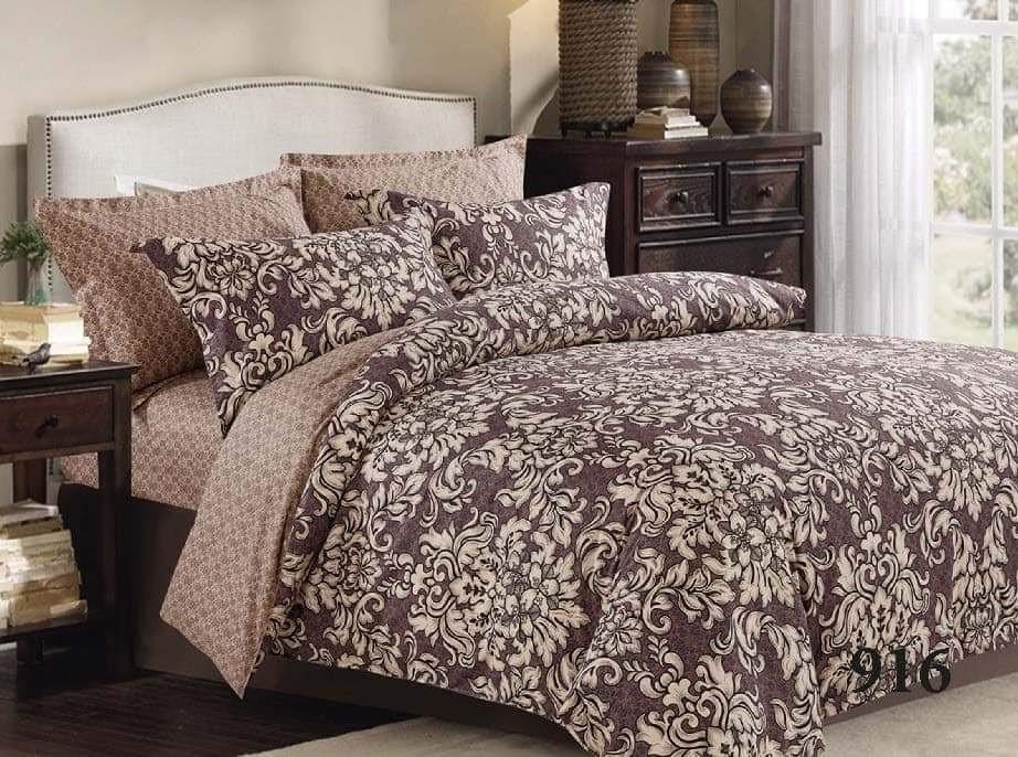 Комплект качественного постельного белья семейка, коричневое