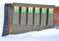 Кожаный патронташ на приклад на липучке Волмас, цвет: Оливковый