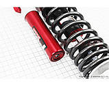(PCR) Амортизатор задний GY6/Honda - 320мм*d62мм (втулка 12/10мм / вилка 8мм) газовый, графит-красный 1 / 2, фото 2