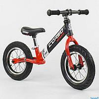 Велобег беговел CORSO 83712 стальная рама колеса 12 дюймов надувные красный