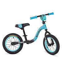 Беговел велобег  детский PROFI KIDS детский колеса 12 дюймов W1201-8 черно-бирюзовый (матовый)