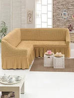 Чехол на угловой диван с юбкой Бежевый Home Collection Evibu Турция 50038