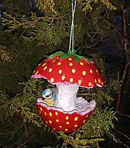 Кормушка для птиц синичка на клубничке, фото 3