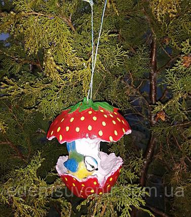 Кормушка для птиц синичка на клубничке, фото 2