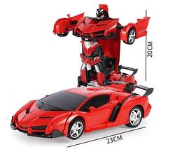 Игрушка машинка трансформер робот на пульте управления автобот Красная, фото 2