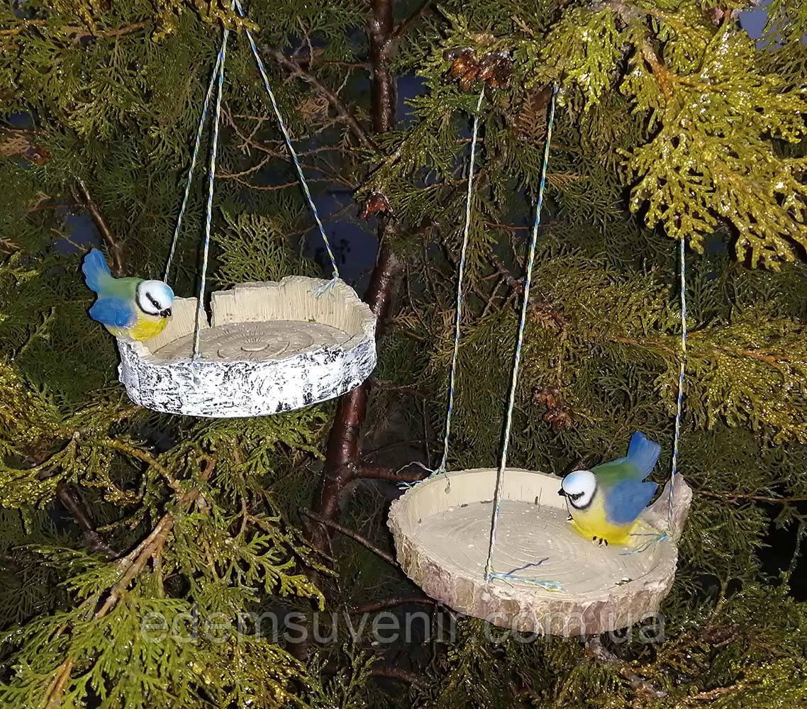Кормушка для птиц синичка на березе и синичка на сосне