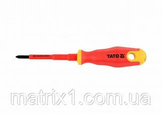 Отвертка Insulated диэлектрическая крестовая PH1, 80 мм VDE ДО 1000 В YATO Professional