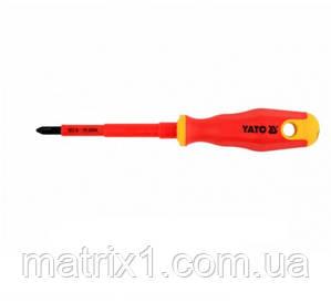 Отвертка Insulated диэлектрическая крестовая PH2, 100 мм VDE ДО 1000 В YATO Professional