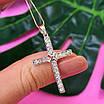 Крестик католический серебряный - Крестик из серебра с фианитами - Серебряный крестик, фото 5