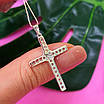 Крестик католический серебряный - Крестик из серебра с фианитами - Серебряный крестик, фото 6