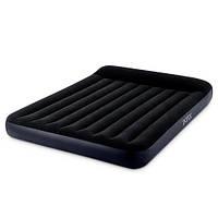 Надувной велюр матрас-кровать INTEX 64148 Pillow Rest Classic Bed Fiber-Tech черный со встроенным насосом