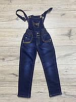 Утепленный джинсовый комбинезон на флисе ( Верх съемный). 110- 116 рост.