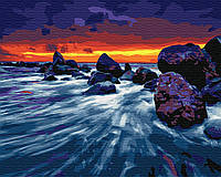Картина рисование по номерам Brushme Закат у скал     BK-GX23998 набор для росписи, краски, кисти, холст