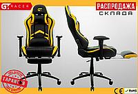 Компьютерное Игровое Кресло Геймерское с Подножкой для Геймера GT Racer X-2534-F Черное / Желтое