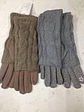 Перчатки трикотажные сенсорные с  митенками цвета коричневый синий и беж, фото 4