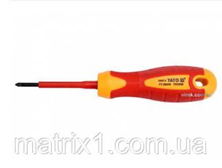 Отвертка Insulated диэлектрическая крестовая PZ0, 60 мм VDE ДО 1000 В YATO Professional