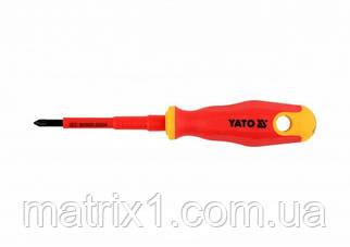 Отвертка Insulated диэлектрическая крестовая PZ1, 80 мм VDE ДО 1000 В YATO Professional
