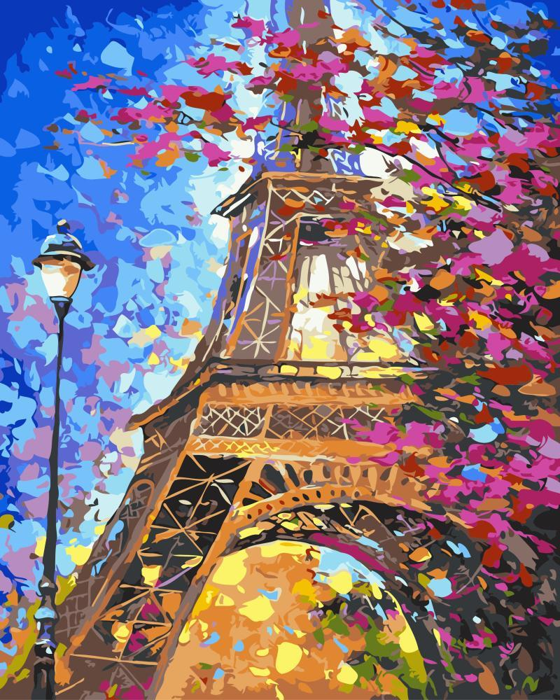 Картина рисование по номерам Brushme Парижский пейзаж     BK-GX9886 набор для росписи, краски, кисти, холст