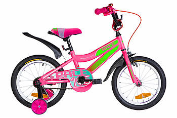 """Детский велосипед с дополнительными колесами от 4 лет 16"""" Formula RACE Малиновый (OPS-FRK-16-108)"""