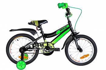 """Детский велосипед с дополнительными колесами от 4 лет 16"""" Formula RACE Черно зеленый (OPS-FRK-16-104)"""
