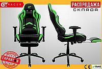 Компьютерное Игровое Кресло Геймерское с Подножкой для Геймера GT Racer X-2534-F Черное / Зеленое